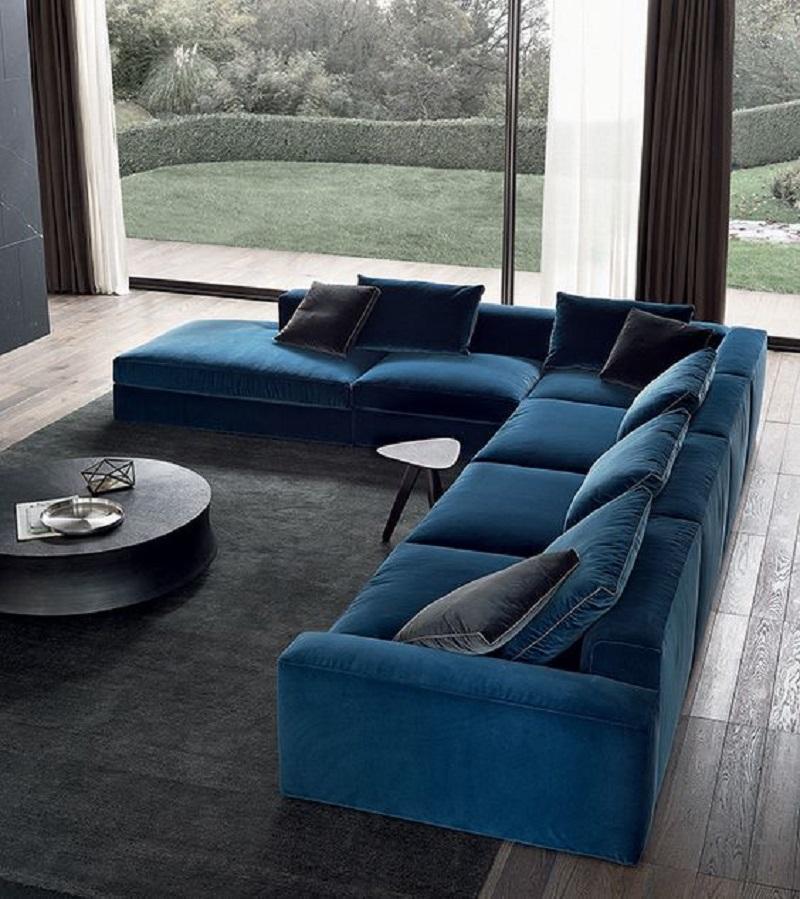 Mẫu sofa nệm màu xanh hy vọng