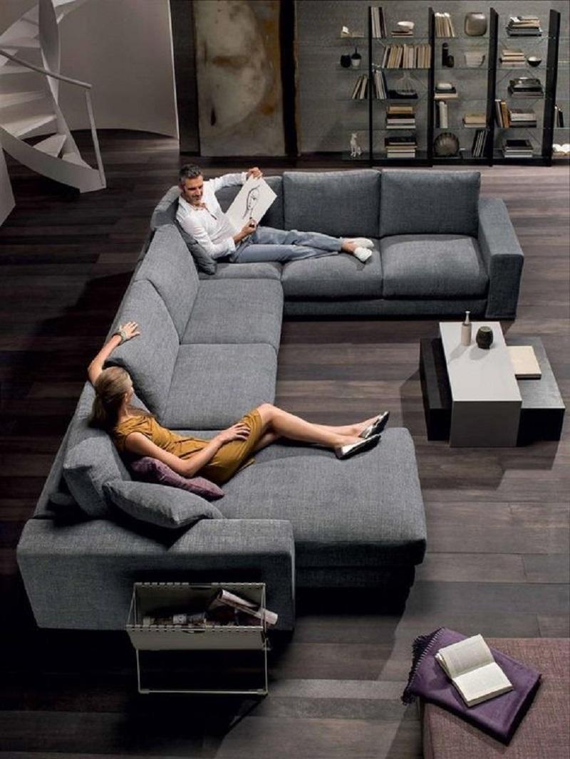 Mẫu sofa nệm xám