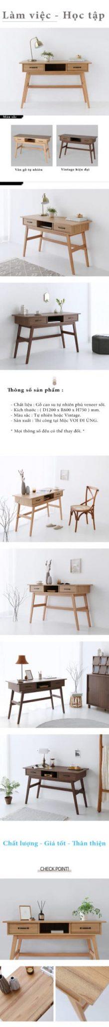 Bàn làm việc gỗ thiết kế phù hợp với mọi lứa tuổi.